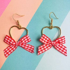 New! Bow Knot & Heart Gold Drop Earrings Red White